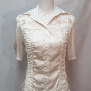 Bebe Button Down Silk & Lace Top